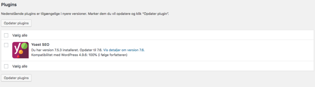opdatering af wordpress plugins tilgængelig