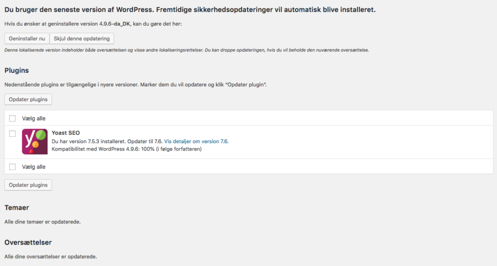 Wordpress opdateringsside